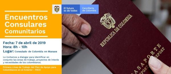 Consulado de Colombia en Manaos realizará un Encuentro Consular Comunitario el 7 de abril  de 2019