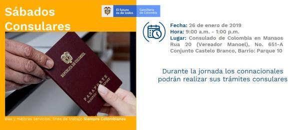 Consulado de Colombia en Manaos realizará jornada de Sábado Consular el 26 de enero de 2019