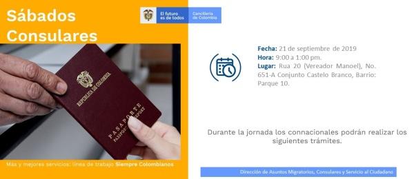 Consulado de Colombia en Manaos tendrá jornada de Sábado Consular el 21 de septiembre